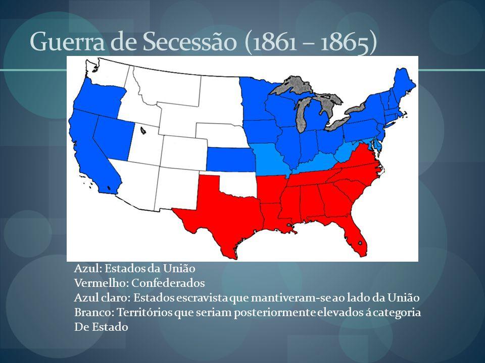 Guerra de Secessão (1861 – 1865) Azul: Estados da União