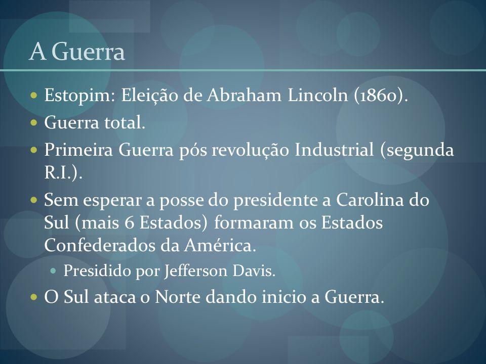 A Guerra Estopim: Eleição de Abraham Lincoln (1860). Guerra total.