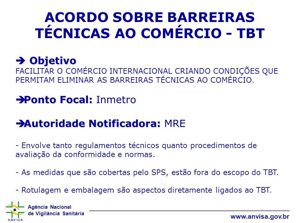 ACORDO SOBRE BARREIRAS TÉCNICAS AO COMÉRCIO - TBT