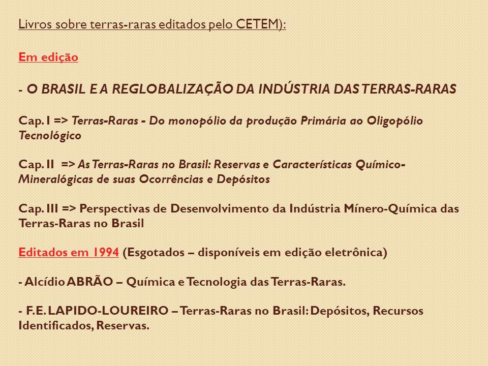 Livros sobre terras-raras editados pelo CETEM): Em edição - O BRASIL E A REGLOBALIZAÇÃO DA INDÚSTRIA DAS TERRAS-RARAS Cap.