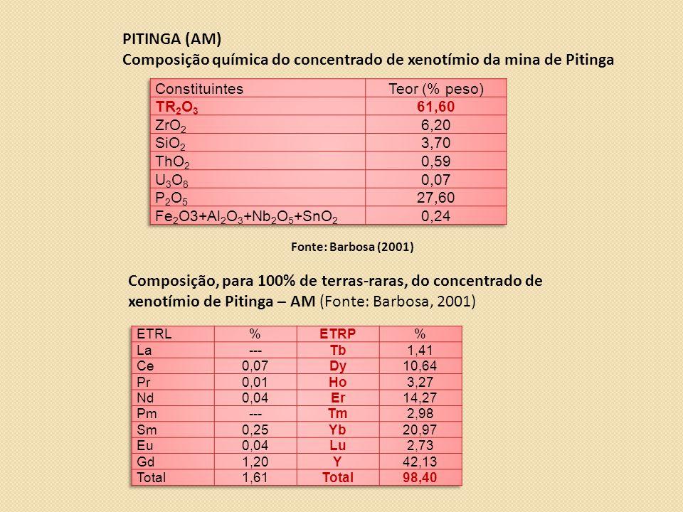Composição química do concentrado de xenotímio da mina de Pitinga