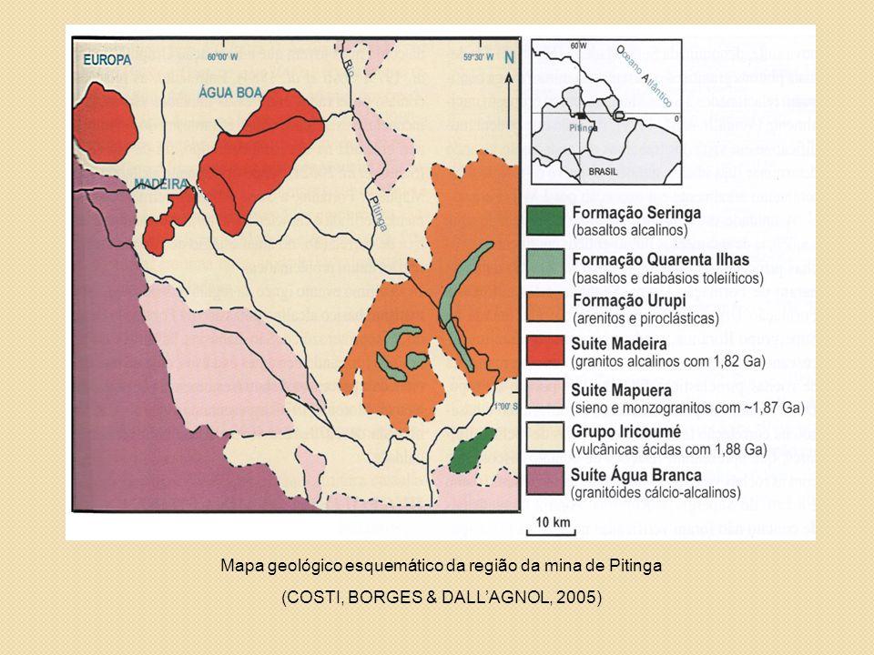 Mapa geológico esquemático da região da mina de Pitinga