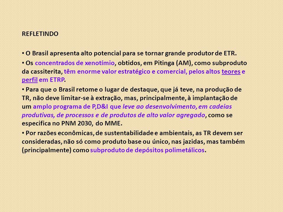 REFLETINDO O Brasil apresenta alto potencial para se tornar grande produtor de ETR.
