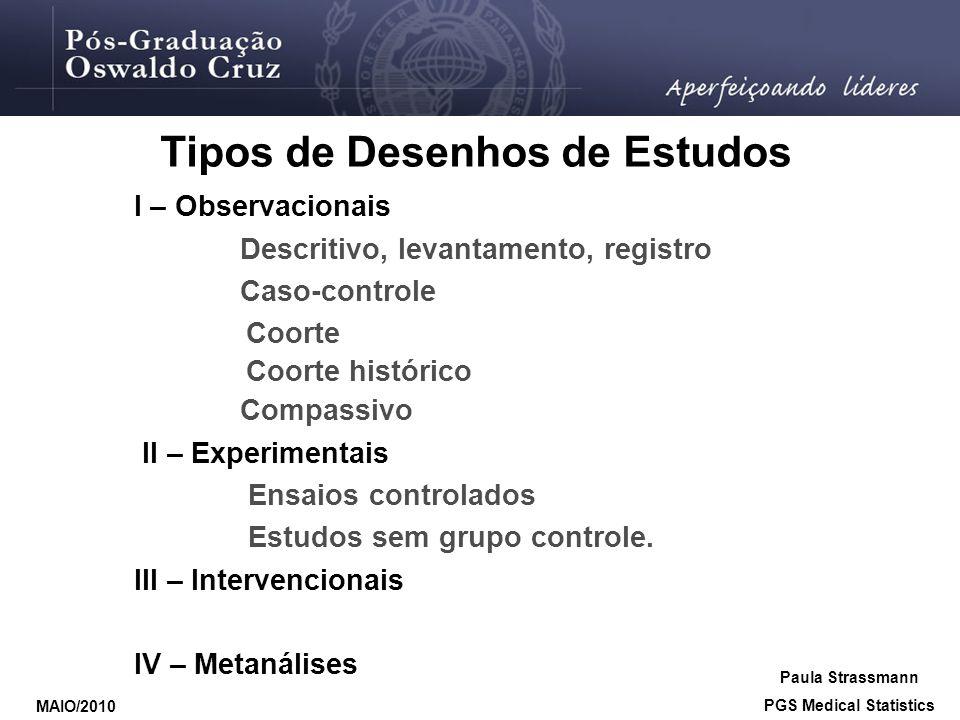 Tipos de Desenhos de Estudos PGS Medical Statistics