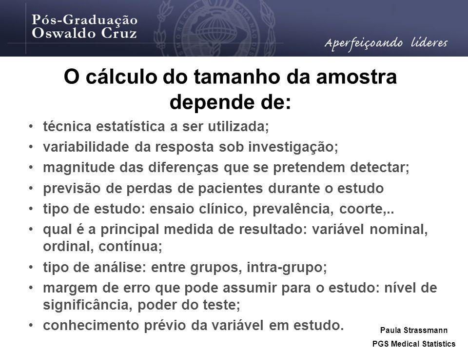 O cálculo do tamanho da amostra depende de: PGS Medical Statistics