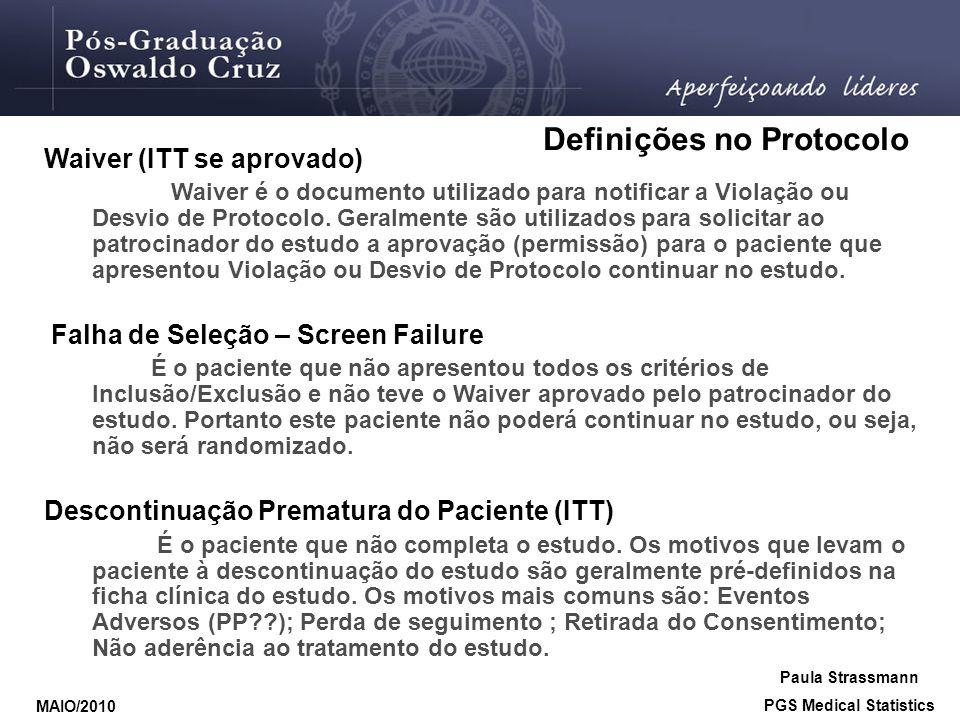Definições no Protocolo PGS Medical Statistics