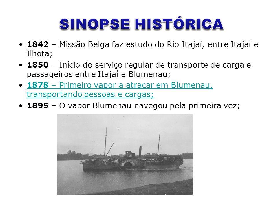 SINOPSE HISTÓRICA 1842 – Missão Belga faz estudo do Rio Itajaí, entre Itajaí e Ilhota;
