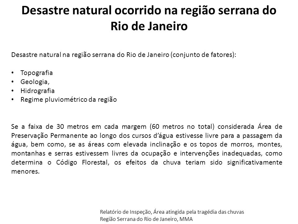 Desastre natural ocorrido na região serrana do Rio de Janeiro