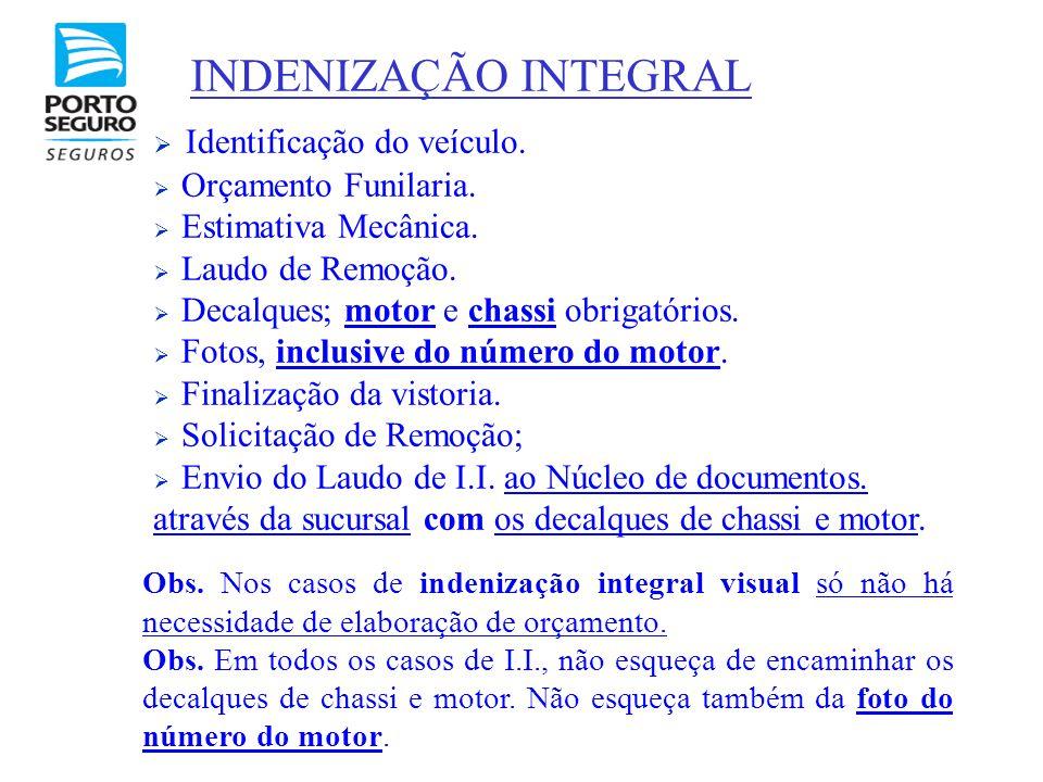 INDENIZAÇÃO INTEGRAL Identificação do veículo. Orçamento Funilaria.