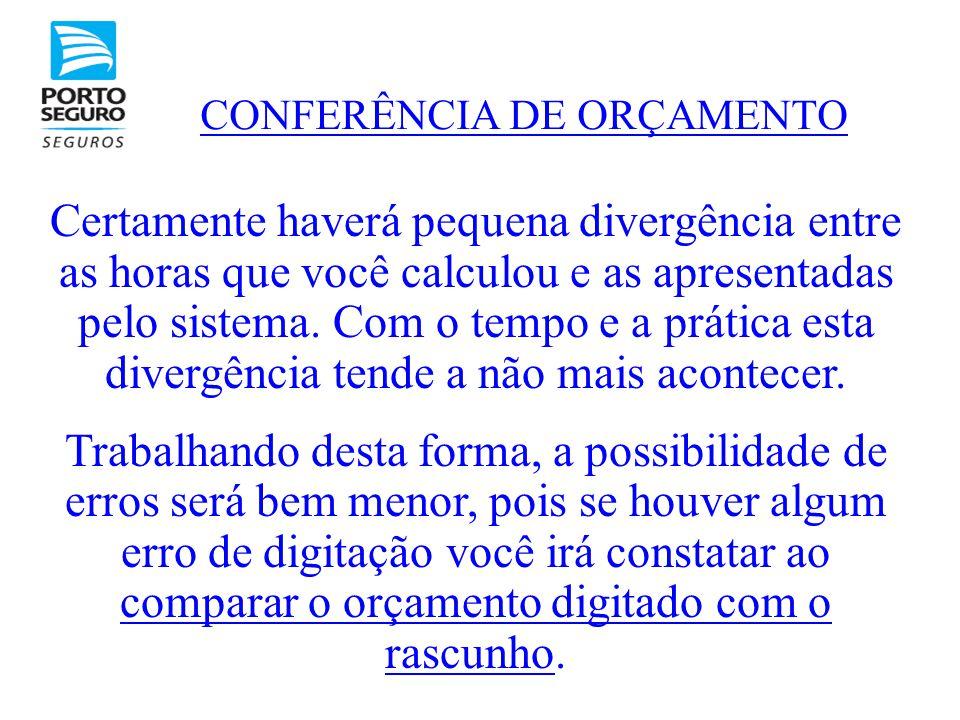 CONFERÊNCIA DE ORÇAMENTO