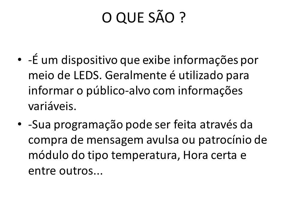 O QUE SÃO -É um dispositivo que exibe informações por meio de LEDS. Geralmente é utilizado para informar o público-alvo com informações variáveis.