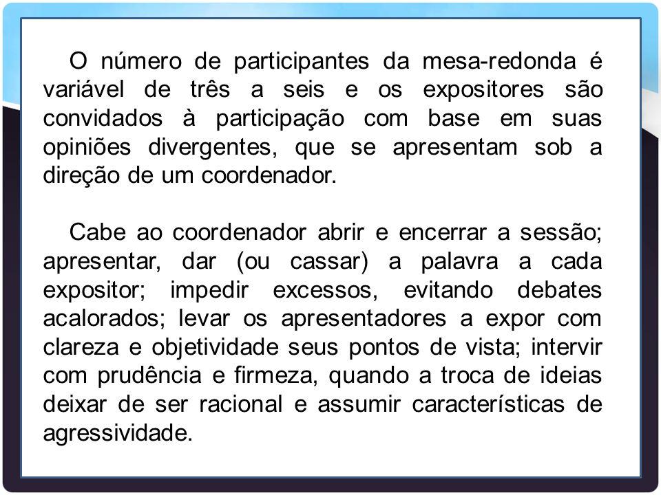 O número de participantes da mesa-redonda é variável de três a seis e os expositores são convidados à participação com base em suas opiniões divergentes, que se apresentam sob a direção de um coordenador.