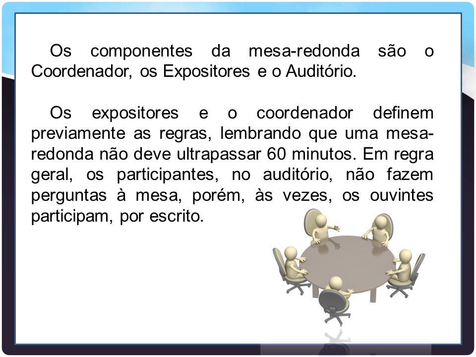 Os componentes da mesa-redonda são o Coordenador, os Expositores e o Auditório.