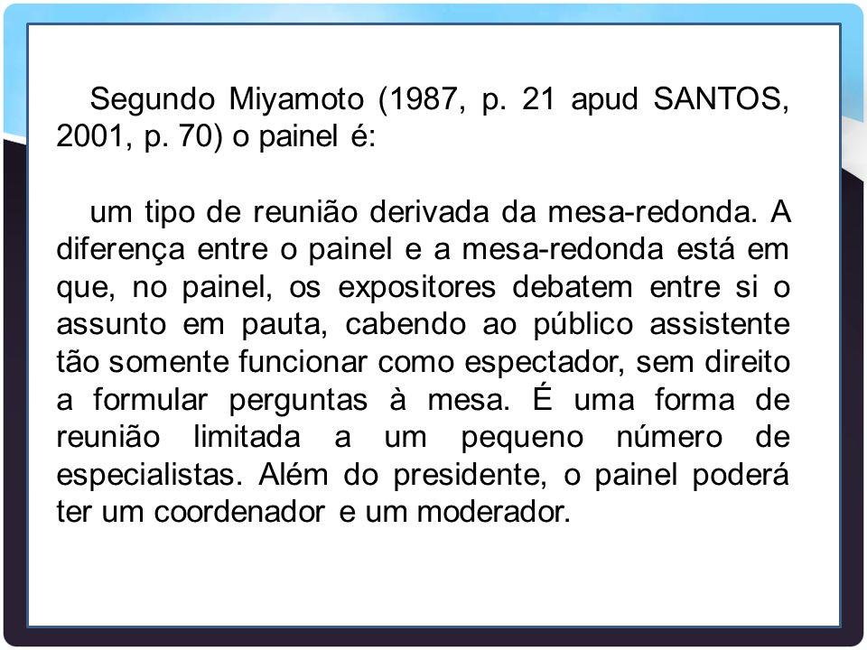 Segundo Miyamoto (1987, p. 21 apud SANTOS, 2001, p. 70) o painel é: