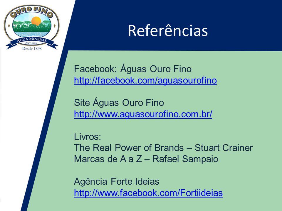 Referências Facebook: Águas Ouro Fino http://facebook.com/aguasourofino Site Águas Ouro Fino.