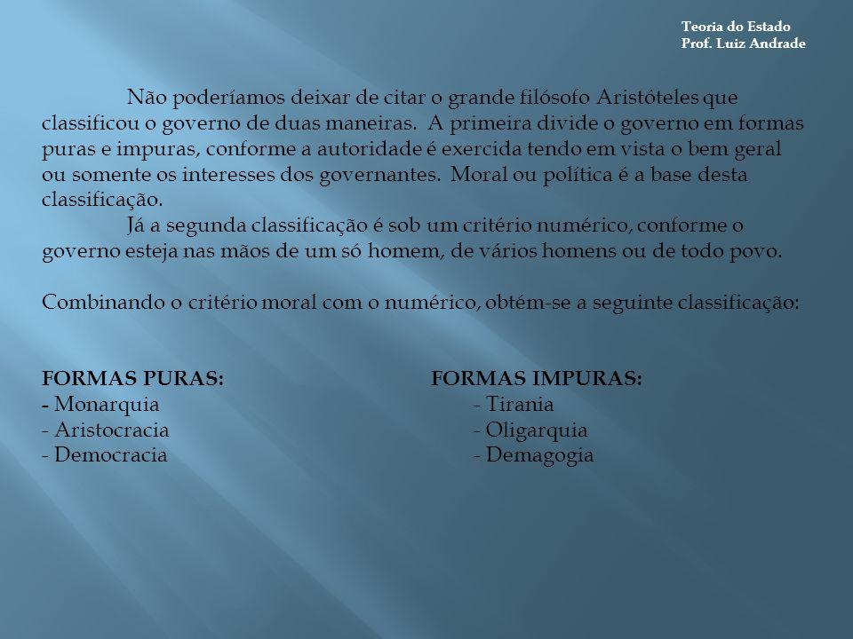 FORMAS PURAS: FORMAS IMPURAS: - Monarquia - Tirania