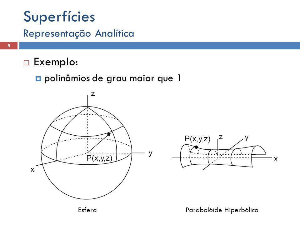Superfícies Exemplo: Representação Analítica