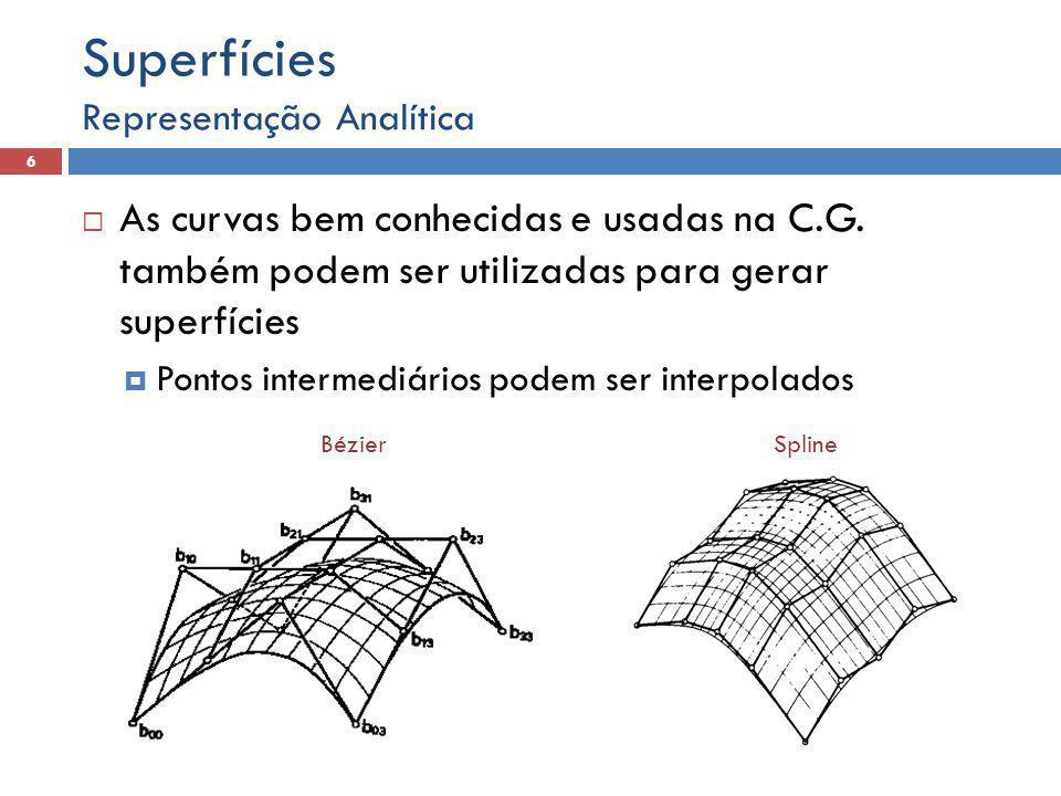 Superfícies Representação Analítica. As curvas bem conhecidas e usadas na C.G. também podem ser utilizadas para gerar superfícies.