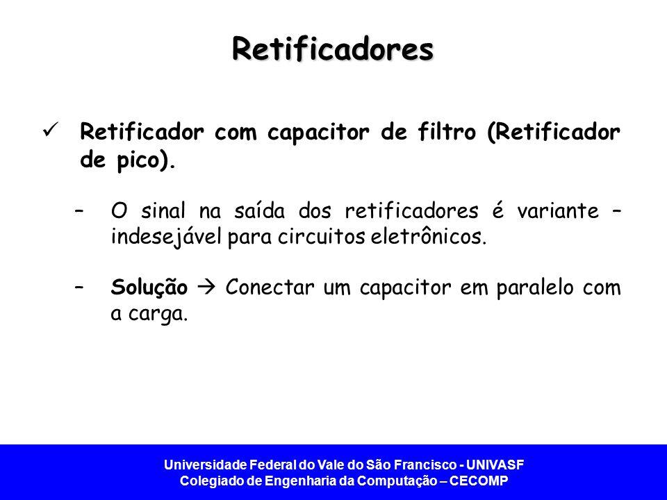Retificadores Retificador com capacitor de filtro (Retificador de pico).