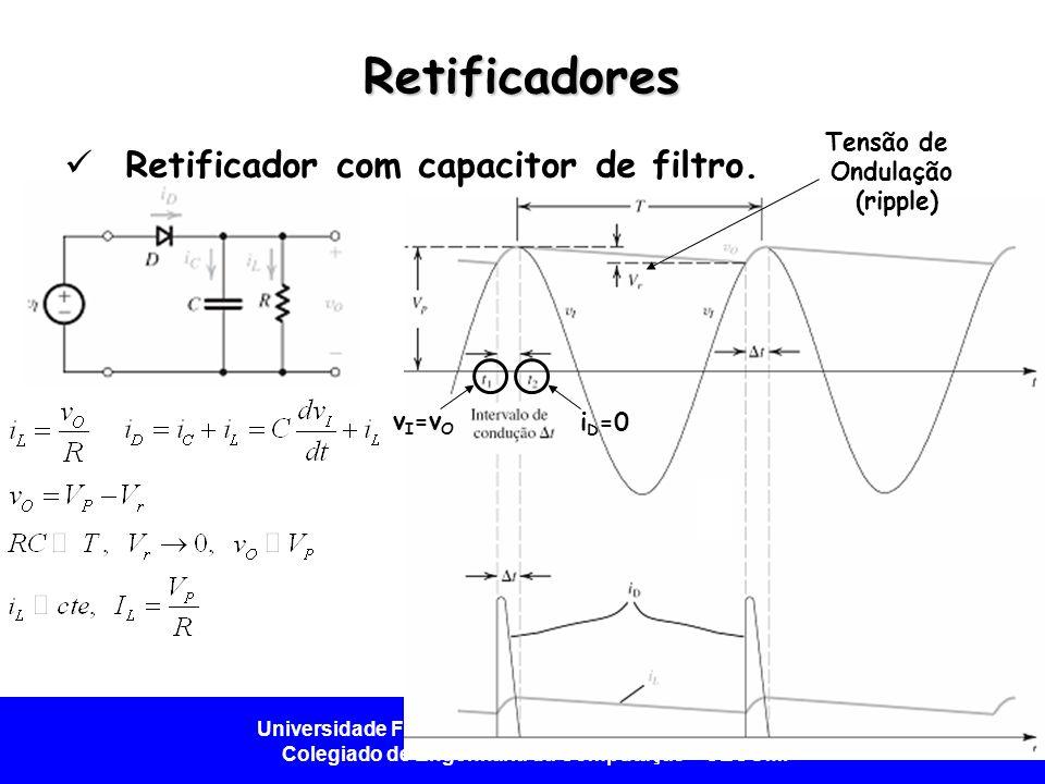 Retificadores Retificador com capacitor de filtro. Tensão de Ondulação