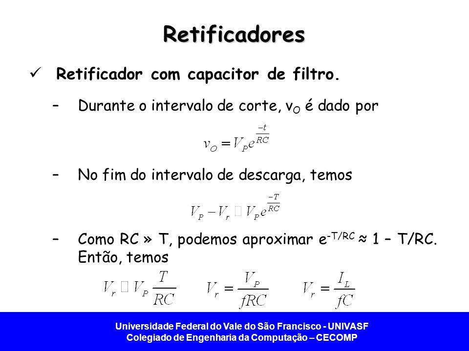 Retificadores Retificador com capacitor de filtro.