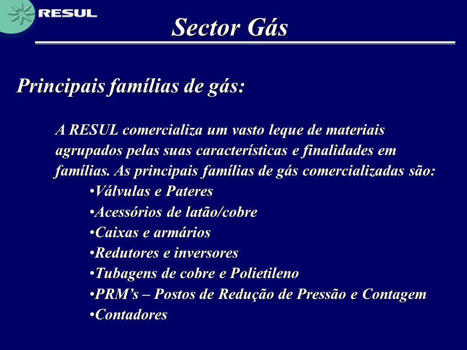 Sector Gás Principais famílias de gás:
