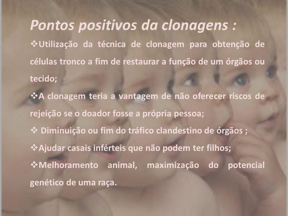 Pontos positivos da clonagens :