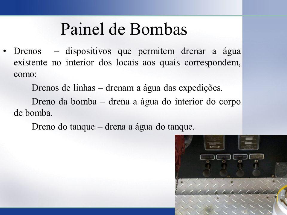 Painel de Bombas Drenos – dispositivos que permitem drenar a água existente no interior dos locais aos quais correspondem, como: