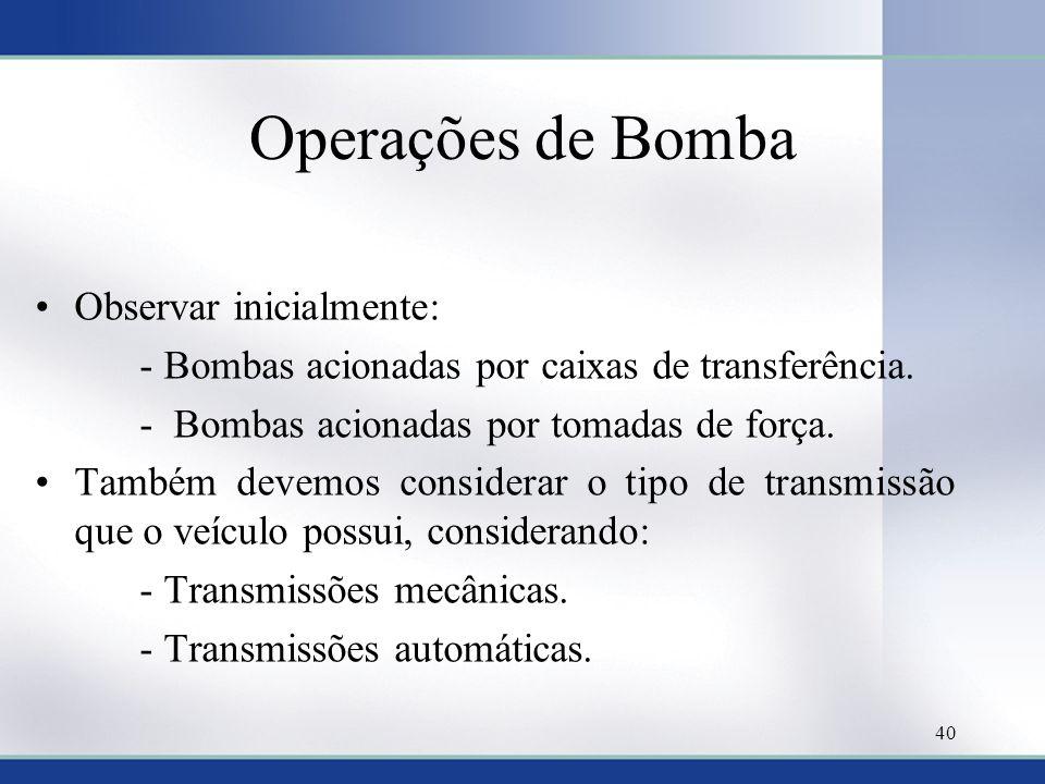 Operações de Bomba Observar inicialmente: