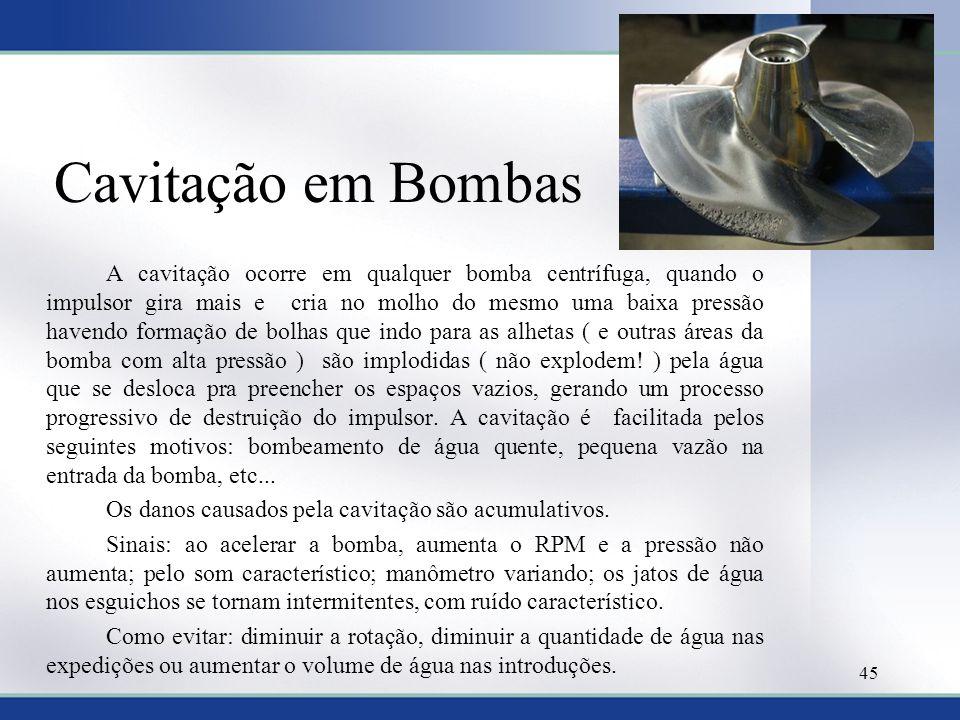 Cavitação em Bombas Os danos causados pela cavitação são acumulativos.