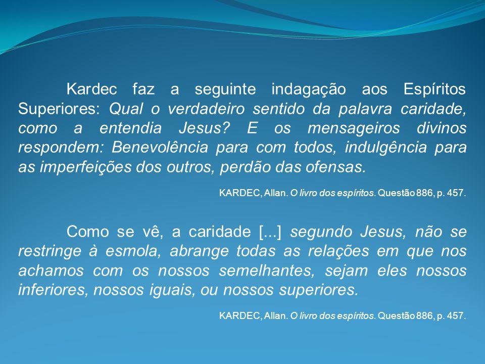 Kardec faz a seguinte indagação aos Espíritos Superiores: Qual o verdadeiro sentido da palavra caridade, como a entendia Jesus E os mensageiros divinos respondem: Benevolência para com todos, indulgência para as imperfeições dos outros, perdão das ofensas.
