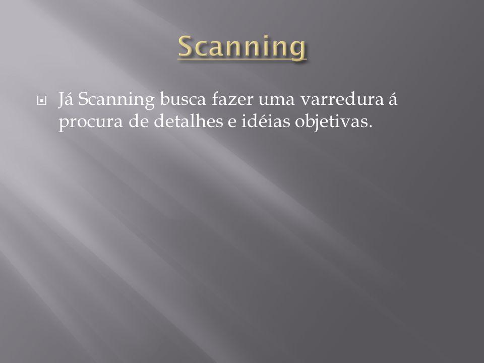 Scanning Já Scanning busca fazer uma varredura á procura de detalhes e idéias objetivas.