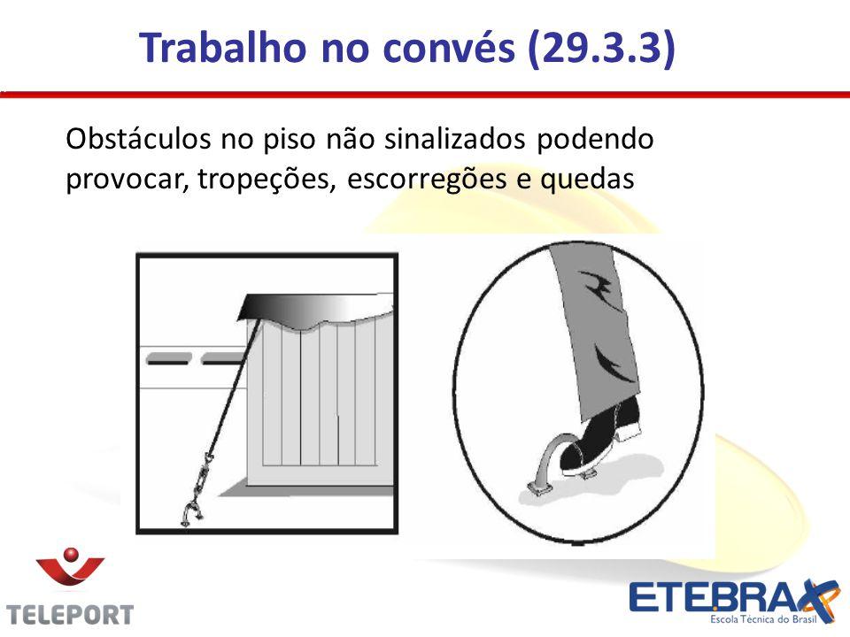Trabalho no convés (29.3.3) Obstáculos no piso não sinalizados podendo provocar, tropeções, escorregões e quedas.