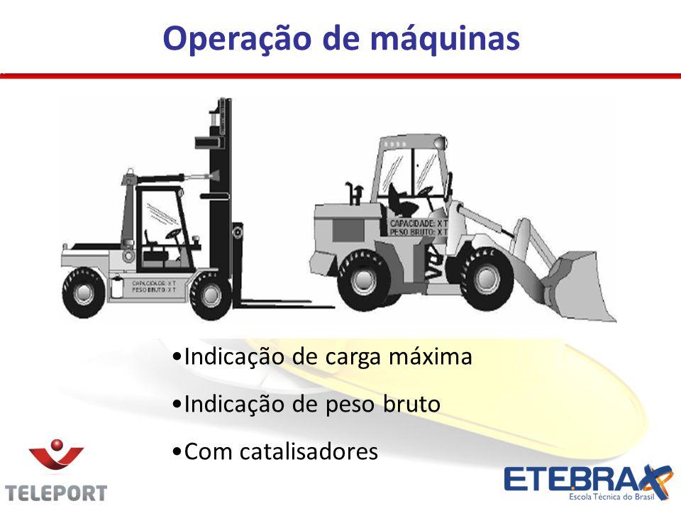 Operação de máquinas Indicação de carga máxima Indicação de peso bruto