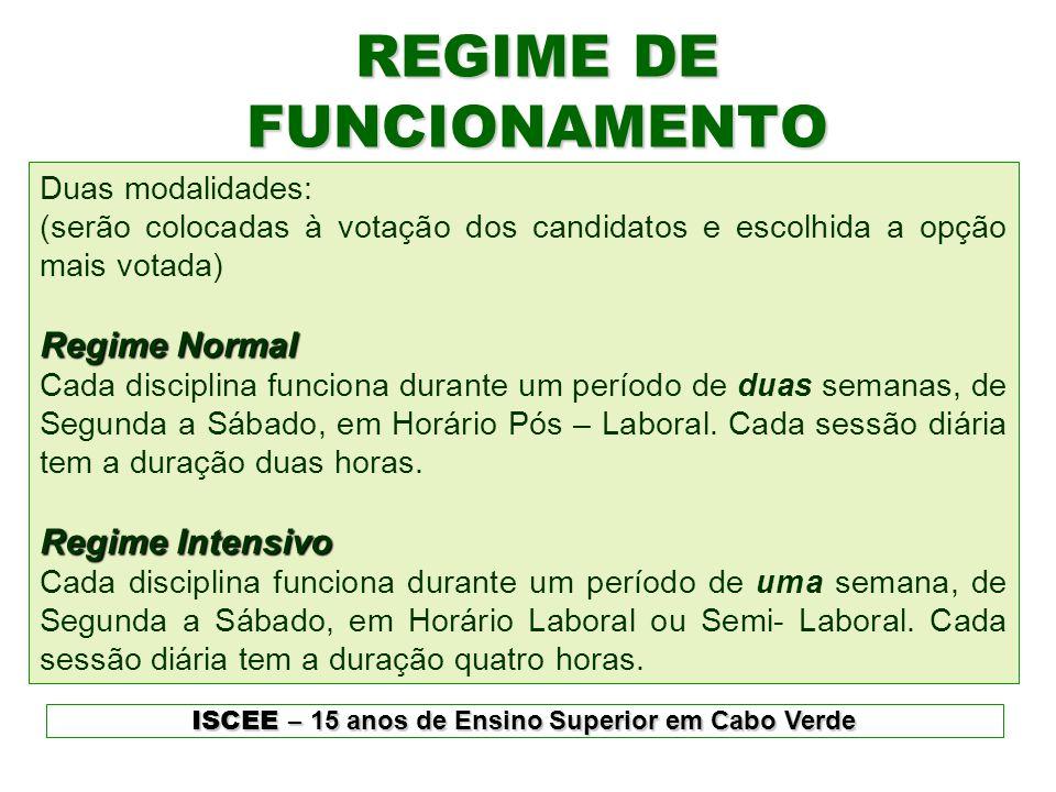 REGIME DE FUNCIONAMENTO