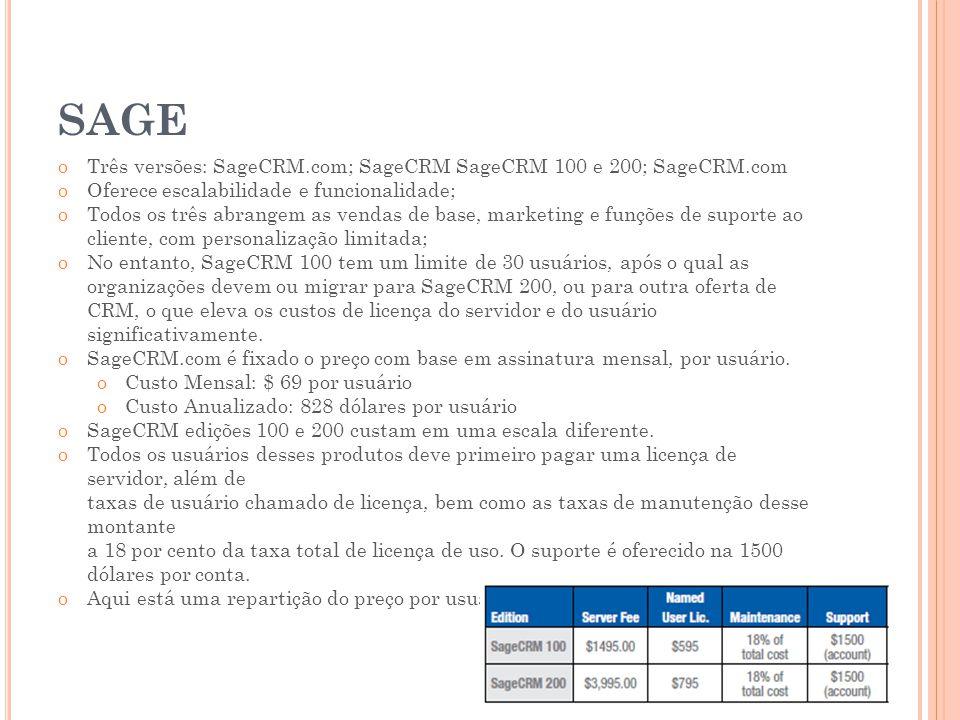 SAGE Três versões: SageCRM.com; SageCRM SageCRM 100 e 200; SageCRM.com
