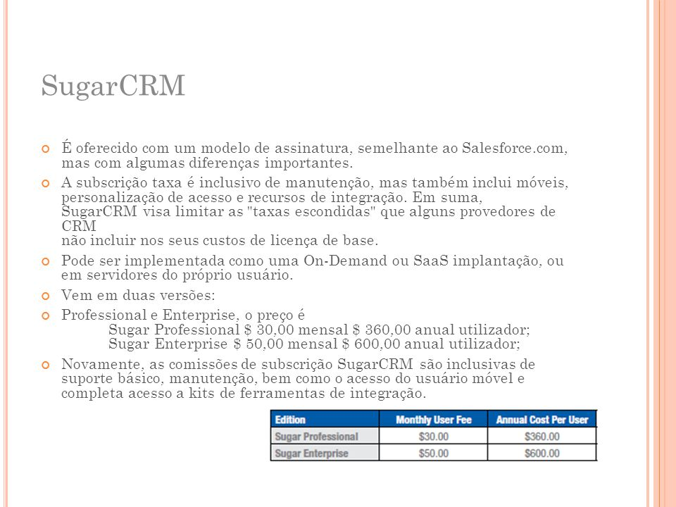 SugarCRM É oferecido com um modelo de assinatura, semelhante ao Salesforce.com, mas com algumas diferenças importantes.