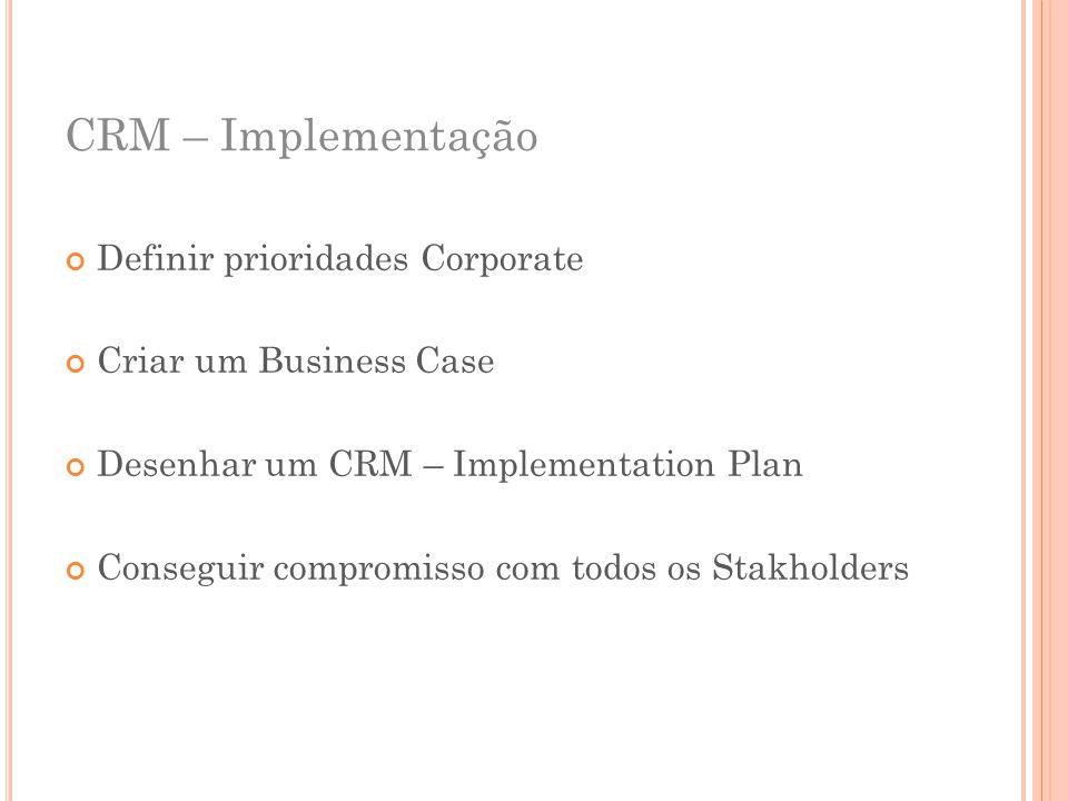 CRM – Implementação Definir prioridades Corporate