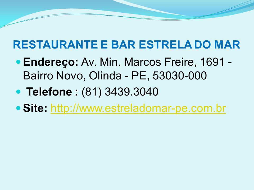 RESTAURANTE E BAR ESTRELA DO MAR