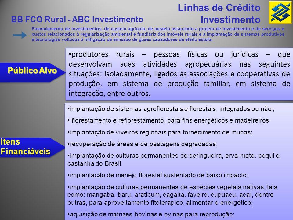 Linhas de Crédito Investimento BB FCO Rural - ABC Investimento