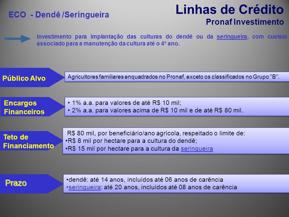 Linhas de Crédito ECO - Dendê /Seringueira Pronaf Investimento Prazo