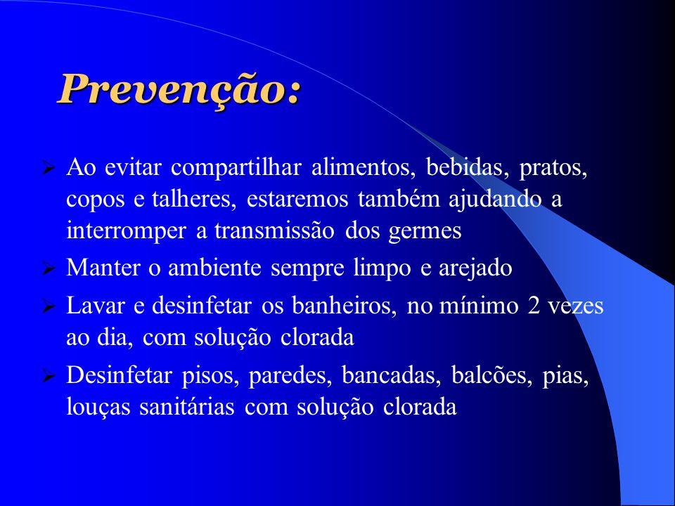 Prevenção: Ao evitar compartilhar alimentos, bebidas, pratos, copos e talheres, estaremos também ajudando a interromper a transmissão dos germes.
