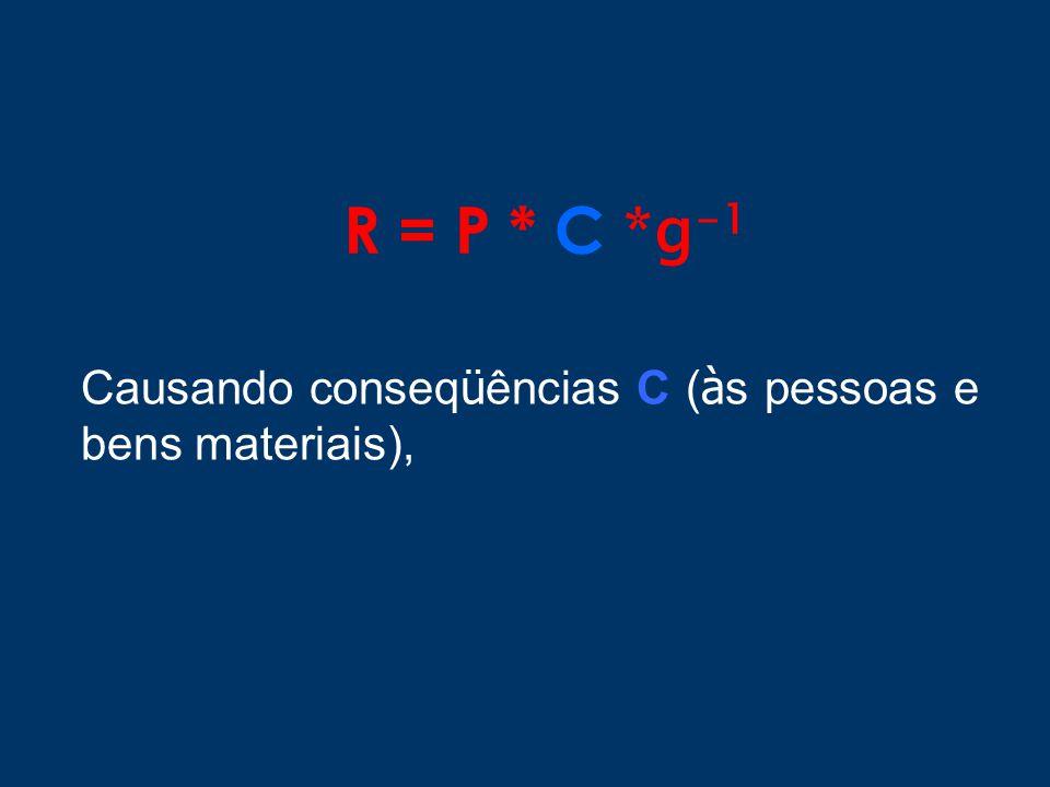 R = P * C *g-1 Causando conseqüências C (às pessoas e bens materiais),