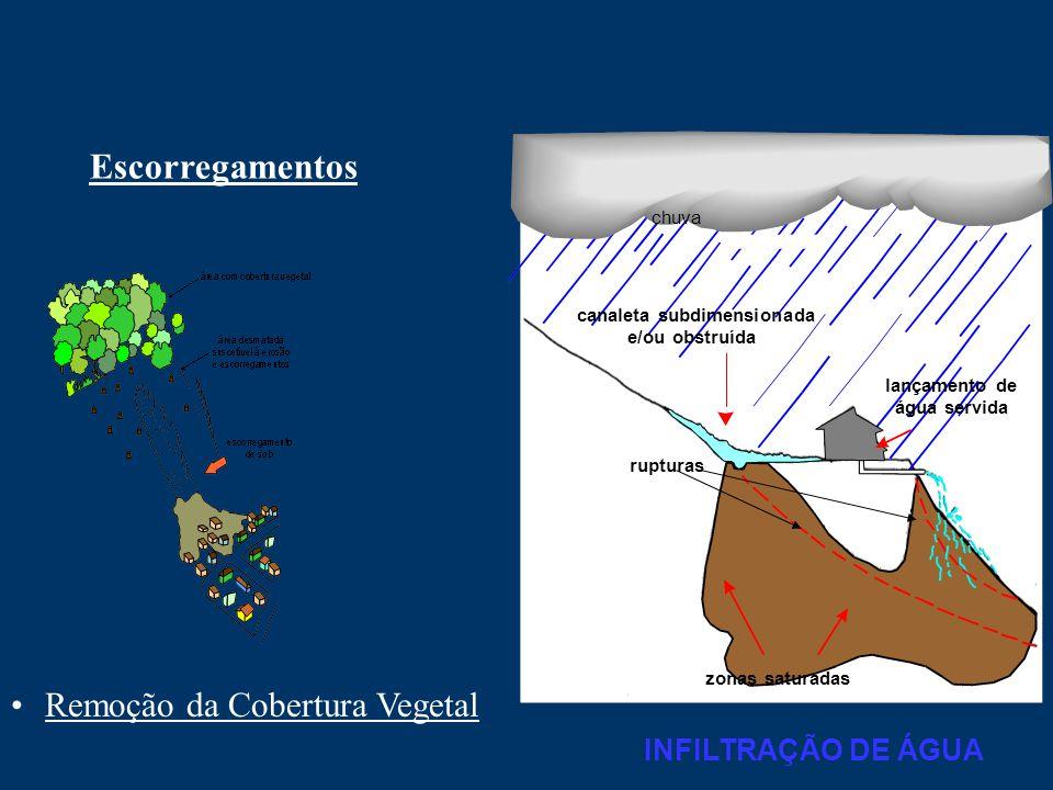 Escorregamentos Remoção da Cobertura Vegetal INFILTRAÇÃO DE ÁGUA chuva