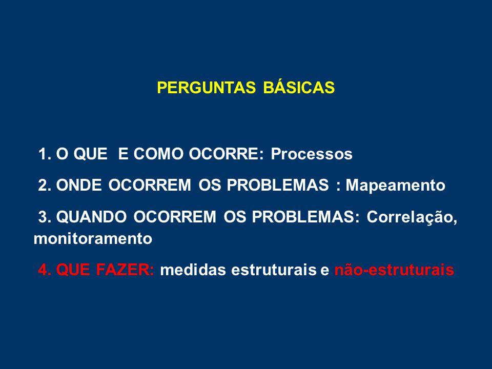 PERGUNTAS BÁSICAS 1. O QUE E COMO OCORRE: Processos. 2. ONDE OCORREM OS PROBLEMAS : Mapeamento.