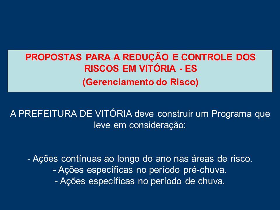 PROPOSTAS PARA A REDUÇÃO E CONTROLE DOS RISCOS EM VITÓRIA - ES