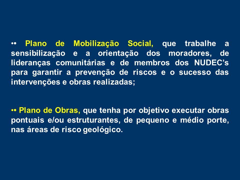 • Plano de Mobilização Social, que trabalhe a sensibilização e a orientação dos moradores, de lideranças comunitárias e de membros dos NUDEC's para garantir a prevenção de riscos e o sucesso das intervenções e obras realizadas;