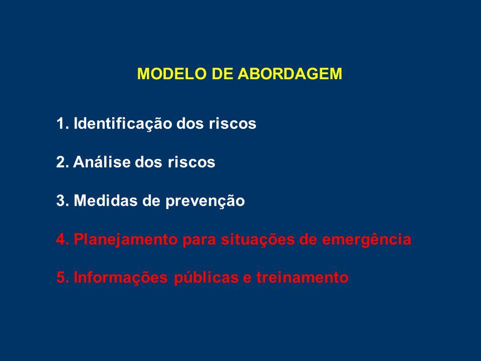 MODELO DE ABORDAGEM 1. Identificação dos riscos. 2. Análise dos riscos. 3. Medidas de prevenção. 4. Planejamento para situações de emergência.
