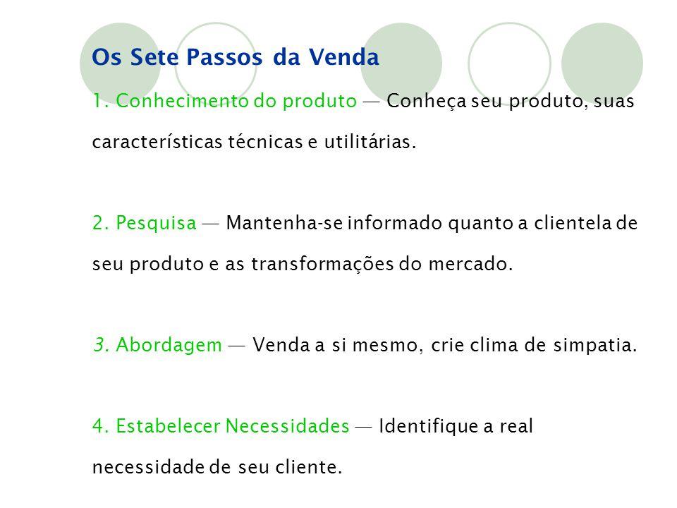 Os Sete Passos da Venda 1. Conhecimento do produto — Conheça seu produto, suas características técnicas e utilitárias.