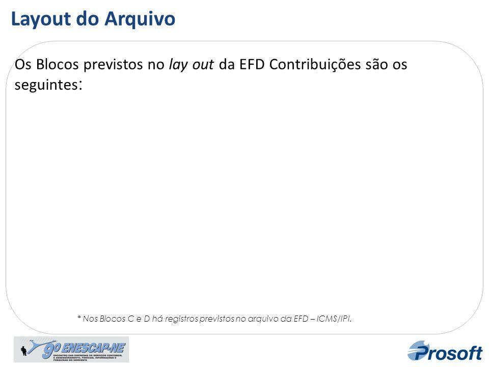 Layout do Arquivo Os Blocos previstos no lay out da EFD Contribuições são os seguintes: Lay out.